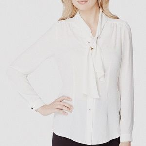 • TAHARI • white sheer tie neck button down top